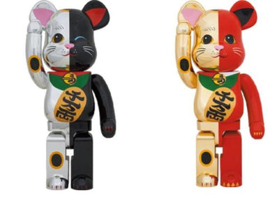 Be@rbrick Maneki Neko 1000% Set Lucky Cat (Silver/Black and Gold/Red)