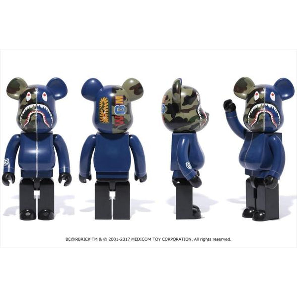 BAPE Shark Camo Bearbrick 1000% (Navy)
