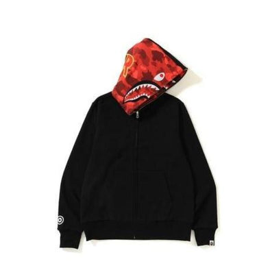 Bape Color Camo Reversible Shark Hoodie (Red)