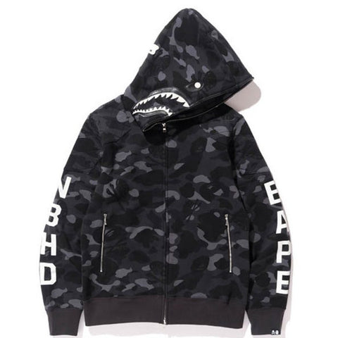 Bape NBHD Camo Shark Full Zip Hoodie (Black)
