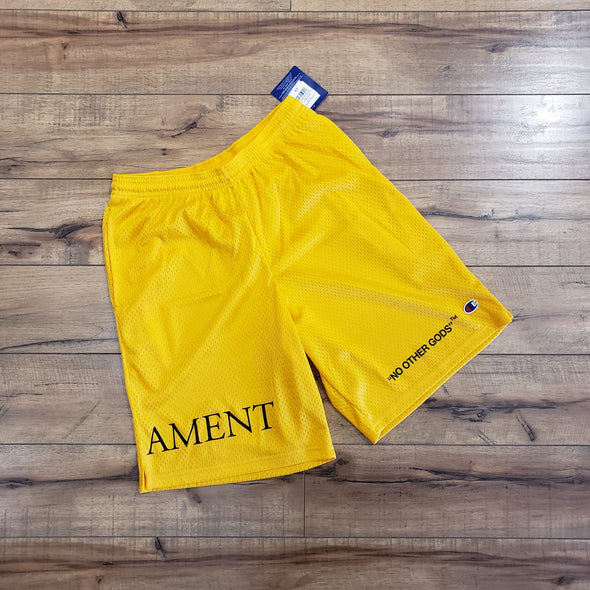 """NO OTHER GODS"" - Testament Champion Mesh Short (Yellow)"