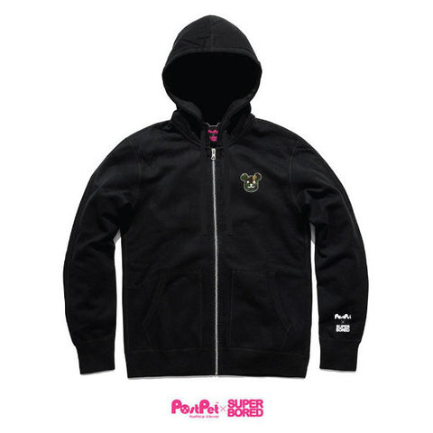 Superbored x PostPet Camo Embriodery Zip-up Hoody (Black)