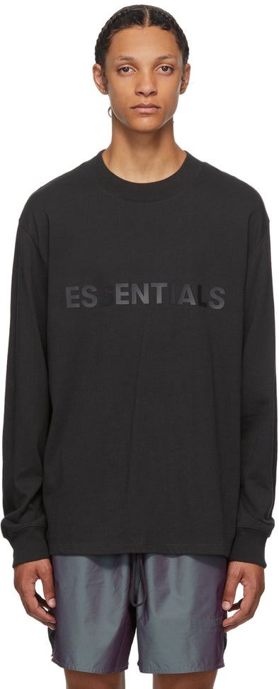 FEAR OF GOD ESSENTIALS Black Logo Long Sleeve T-shirt