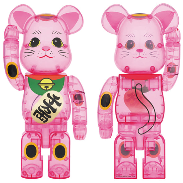 Be@rbrick Maneki Neko 400% Pink Transparent Lucky Cat