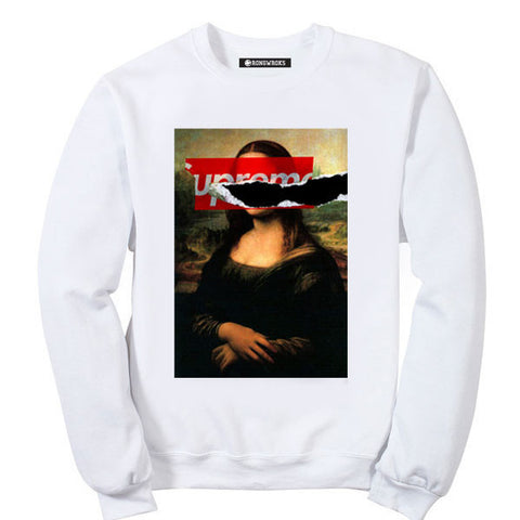 WRONGWROKS RIPPED OFF MONA LISA PAINTING CREWNECK ( WHITE )