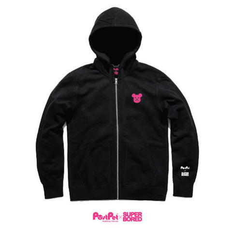 Superbored x PostPet Pink Embriodery Zip-up Hoody (Black)