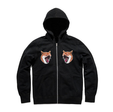 WRKS Shiba Yawning Embroidery Heavy Weigh Zip-Up Hoody (Black)