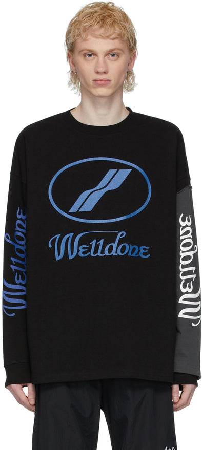 We11done Colour Sleeve L/S Tee (Black/Blue)