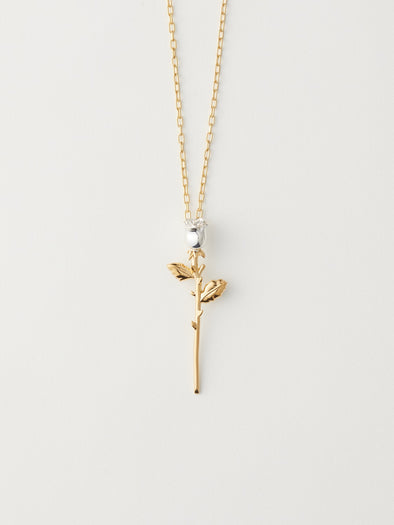 Ambush Rose Charm Necklace (Gold)