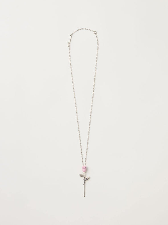 Ambush Rose Charm Necklace (Pink)