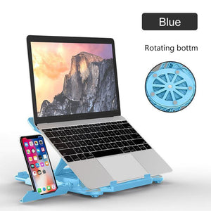 ROTATING LAPTOP & PHONE HOLDER WITH COOLING BRACKET-TECHMONOVO