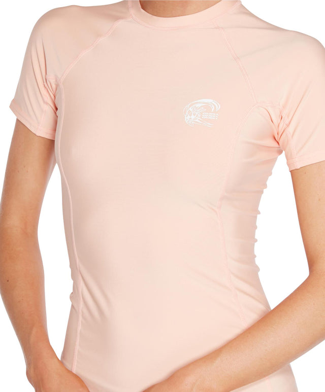 Womens Basic Skins Short Arm Crew - Peach Pink
