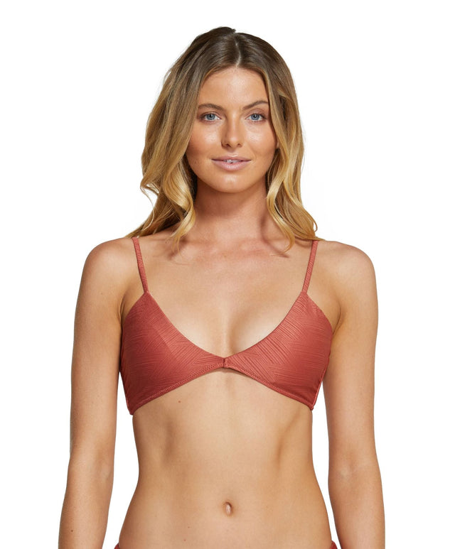Saltwater Solids Textured Bikini Top - Etruscan Red