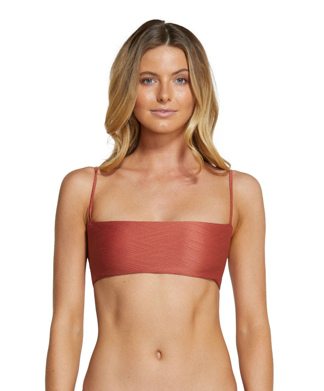 Saltwater Solids Textured Bralette Bikini Top - Etruscan Red