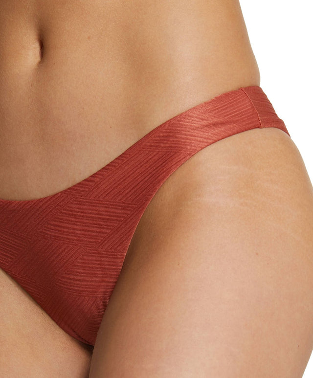 Saltwater Solids Textured Hi Leg Bikini Bottom - Etruscan Red