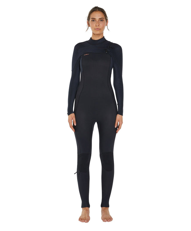 Hyperfreak 4/3+ Womens Steamer Chest Zip Wetsuit - Black