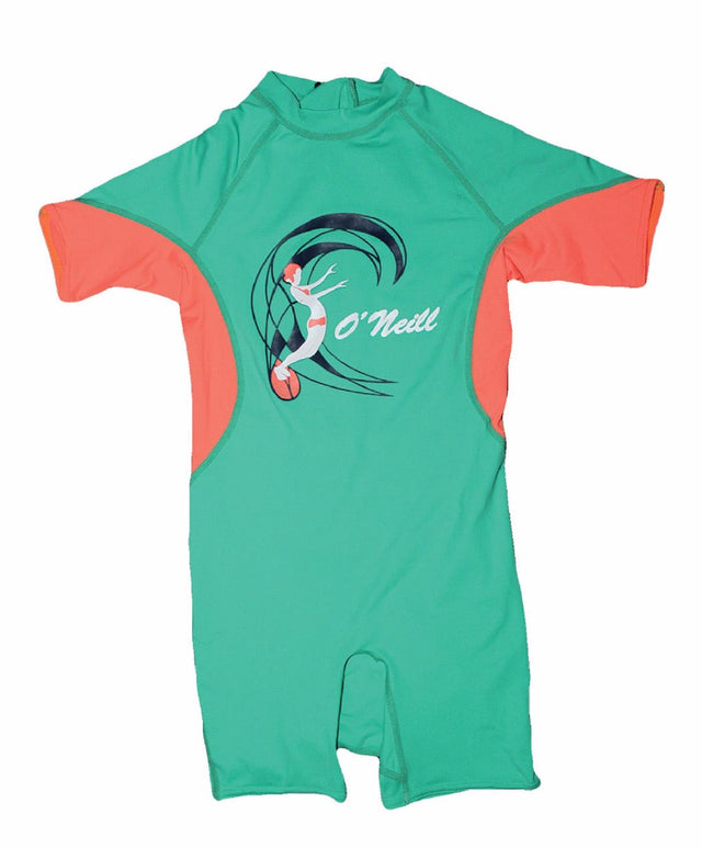Girls Toddler Ozone Short Sleeve Spring Rash Suit - Seaglass Papaya Cobalt