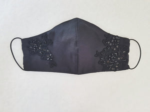Cotton mask - black with beaded lace - children under 9 years - Molteno