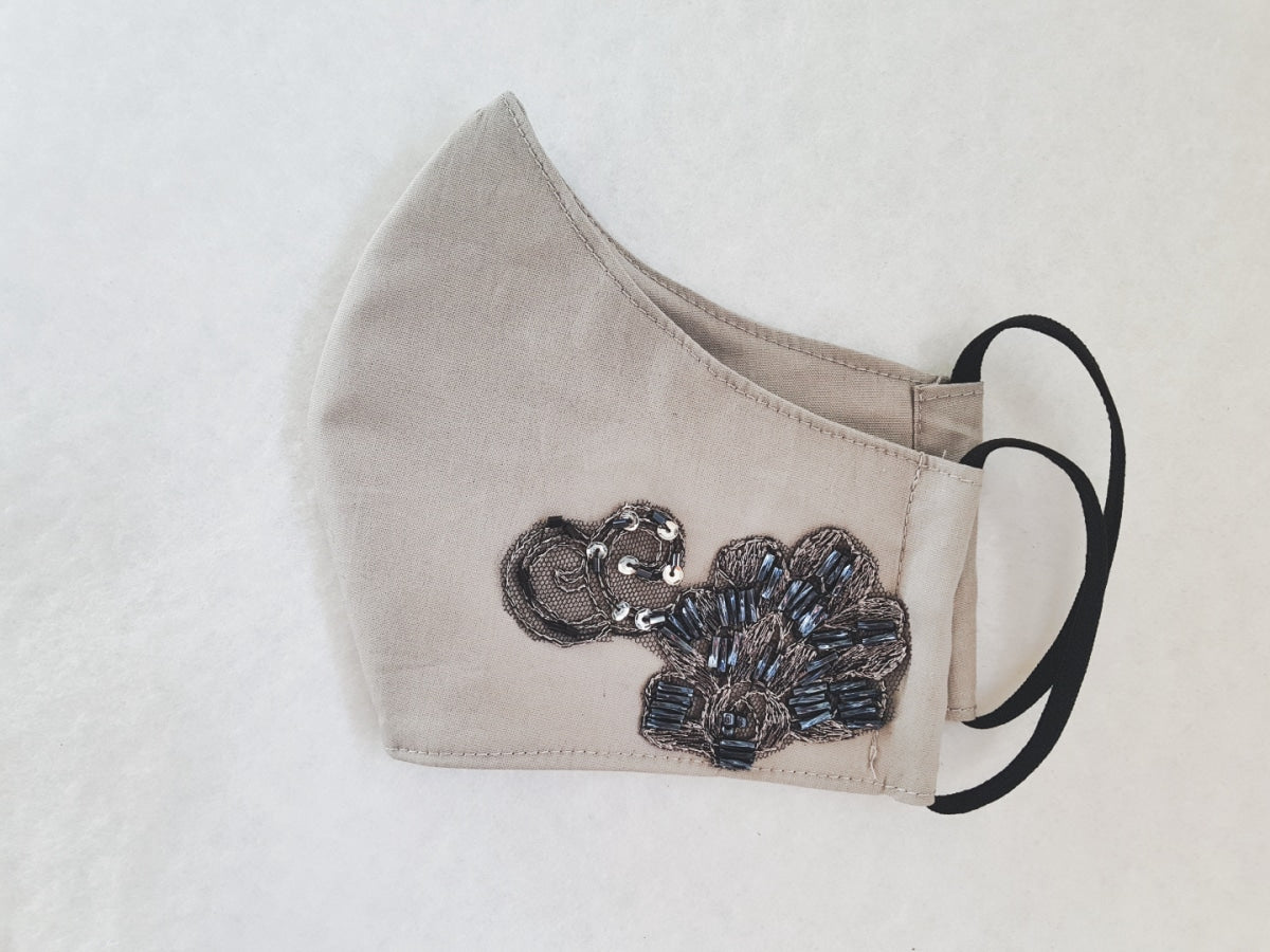 Cotton mask - grey with silver beaded lace - Molteno