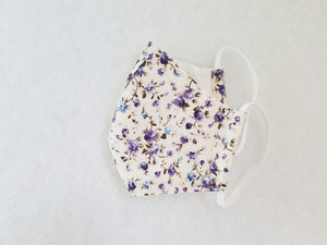 Cotton mask - ivory and purple floral - Molteno