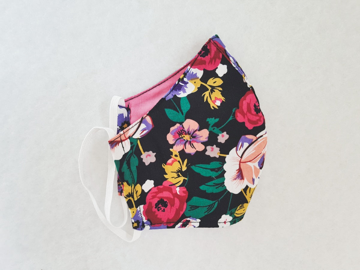 Cotton mask - multi-coloured floral print - Molteno
