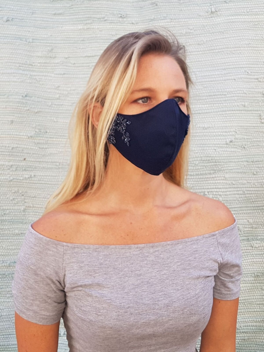 cotton mask - Navy with navy floral beaded lace - children under 9 years - masks Molteno