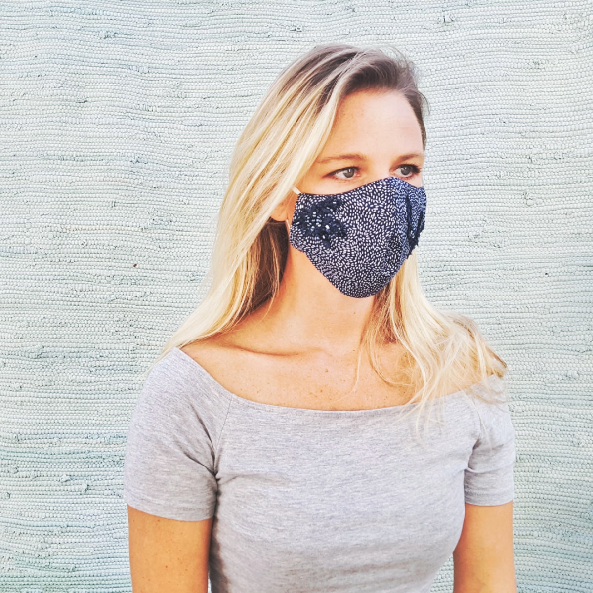 Cotton mask - navy with white dots and beaded lace - Molteno