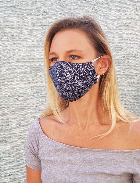 Cotton mask - navy with white dots - Molteno