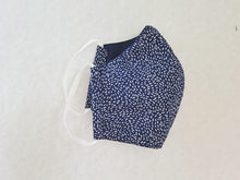 Load image into Gallery viewer, Cotton mask - navy with white dots - Molteno