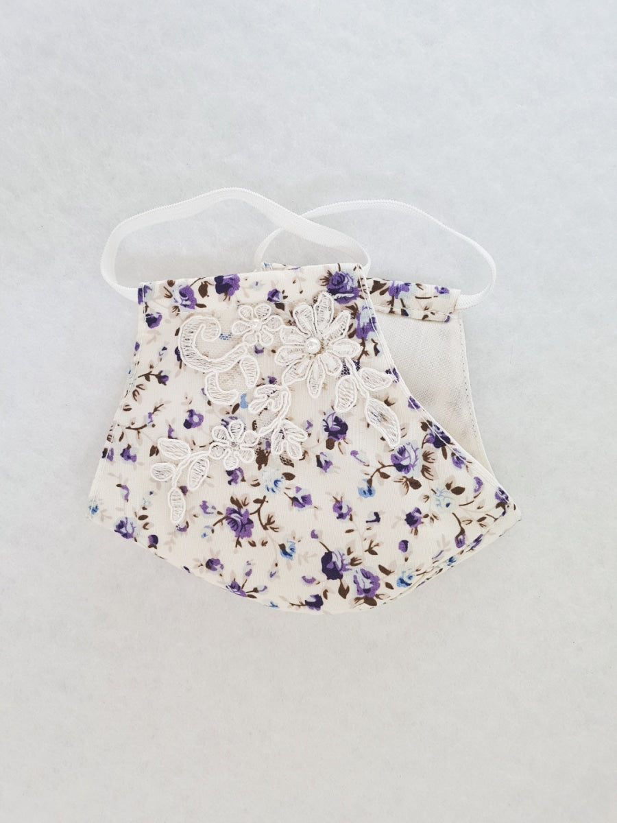 cotton mask with beaded lace - purple floral print - Molteno