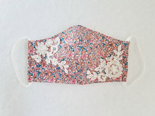 Load image into Gallery viewer, Cotton mask with pink floral print and beaded bridal lace embellishment - Molteno