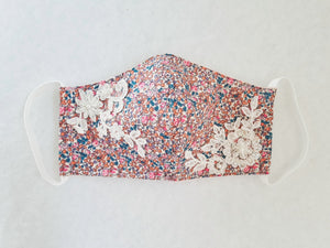 Cotton mask with pink floral print and beaded bridal lace embellishment - Molteno