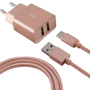 Wall Charger + USB A to USB C Cable 2 USB 2.4A Rose gold