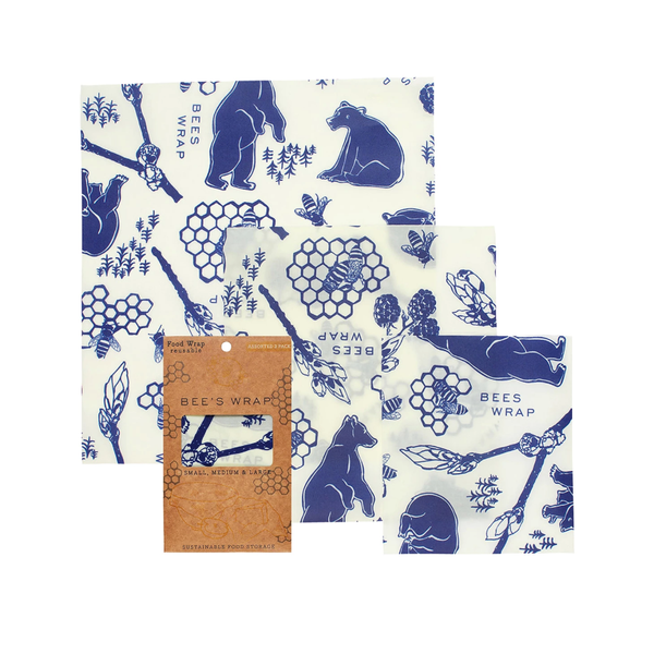 3 Pack Beeswax Wrap - Bees & Bears