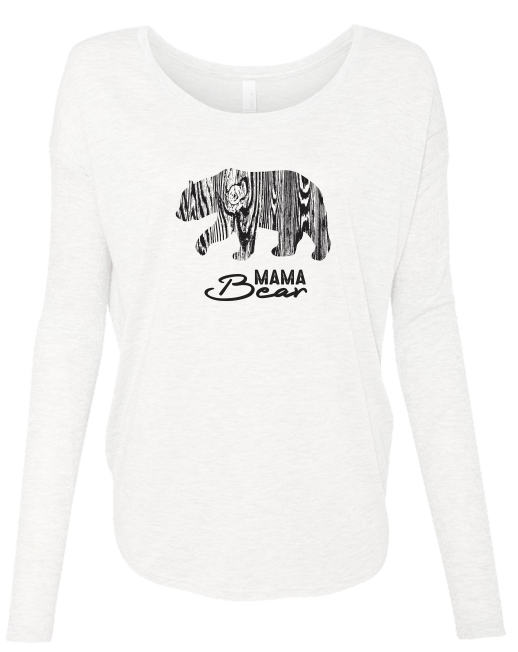 Wood Grain Bear Mama - LADIES Ribbed Long Sleeve