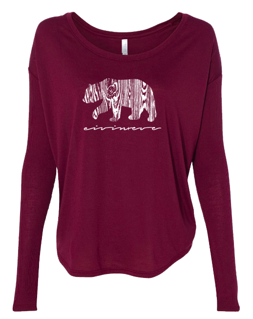 Wood Grain Bear - LADIES Ribbed Long Sleeve