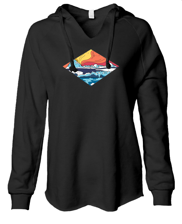 Icy Mountains - LADIES Lightweight Hooded Sweatshirt