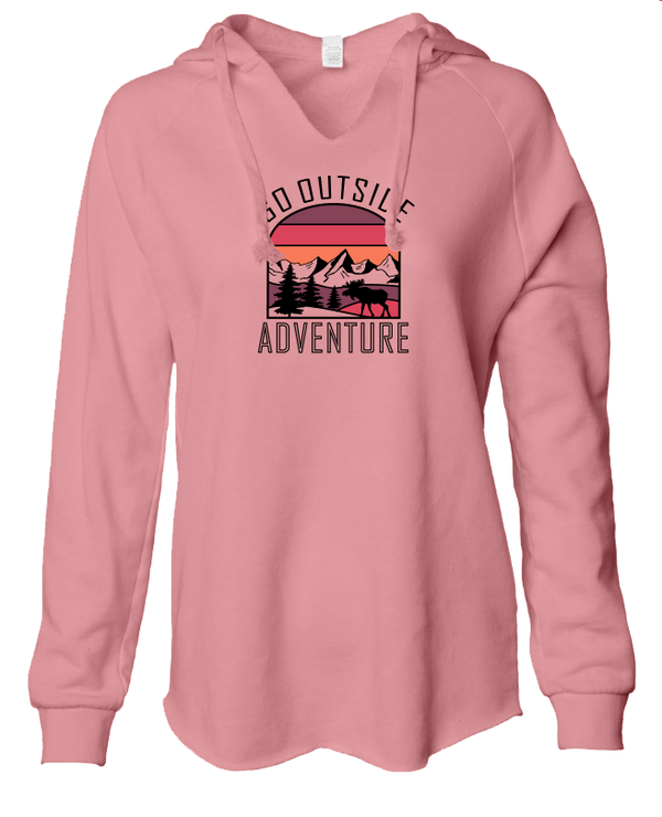 Go Outside Sunset - LADIES Lightweight Hooded Sweatshirt