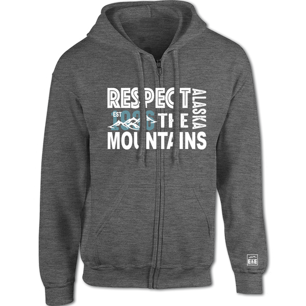 Respect the Mountains - Alaska Zip-Up Hooded Sweatshirt (Pepper)