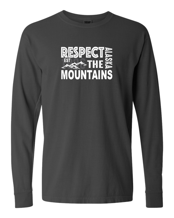 Respect the Mountains - Alaska Adult Long Sleeve (Pepper)