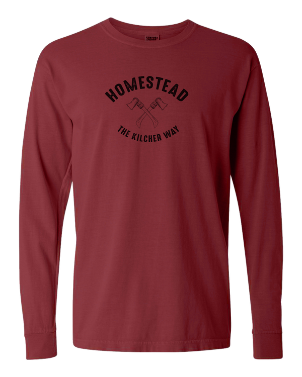 Homestead - Axes Adult Long Sleeve (Brick)
