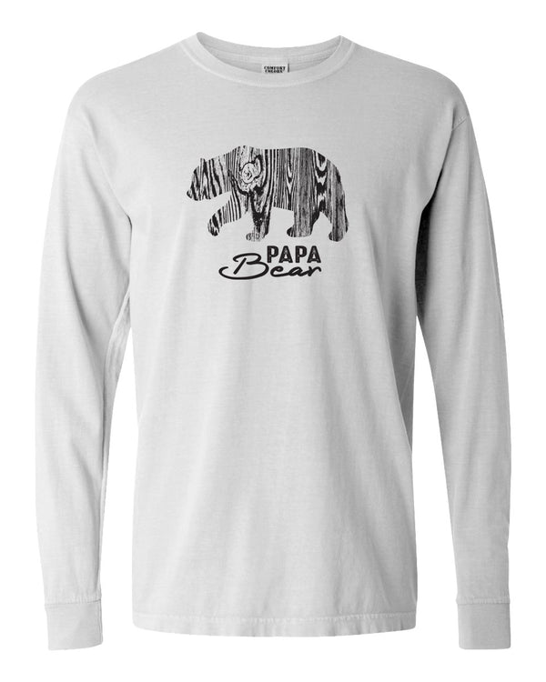 Wood Grain Papa Bear Adult Long Sleeve