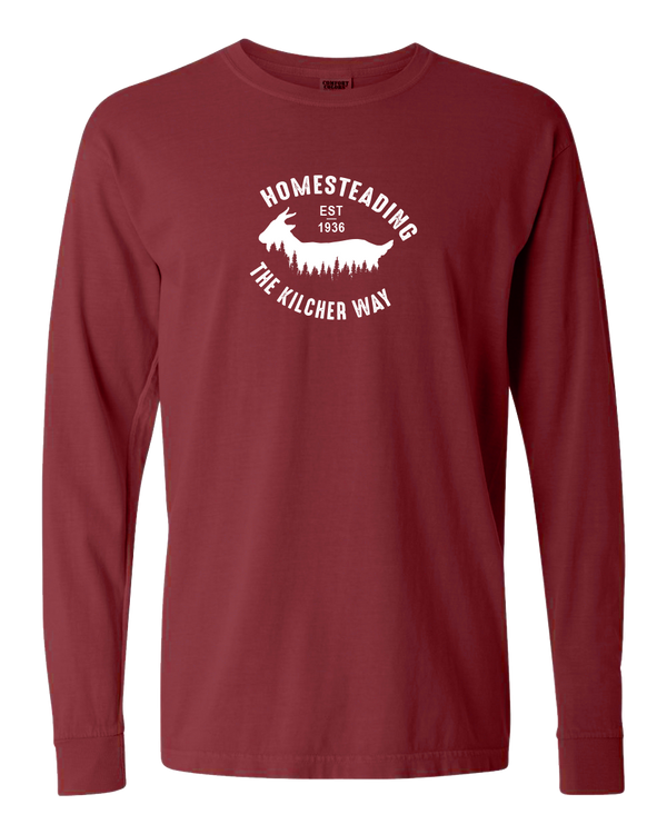 Homesteading - Goat Adult Long Sleeve (Brick)