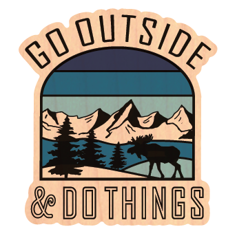 Go Outside Blue - Wood Stickers