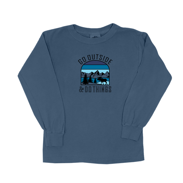 Go Outside Blue - Youth Long Sleeve