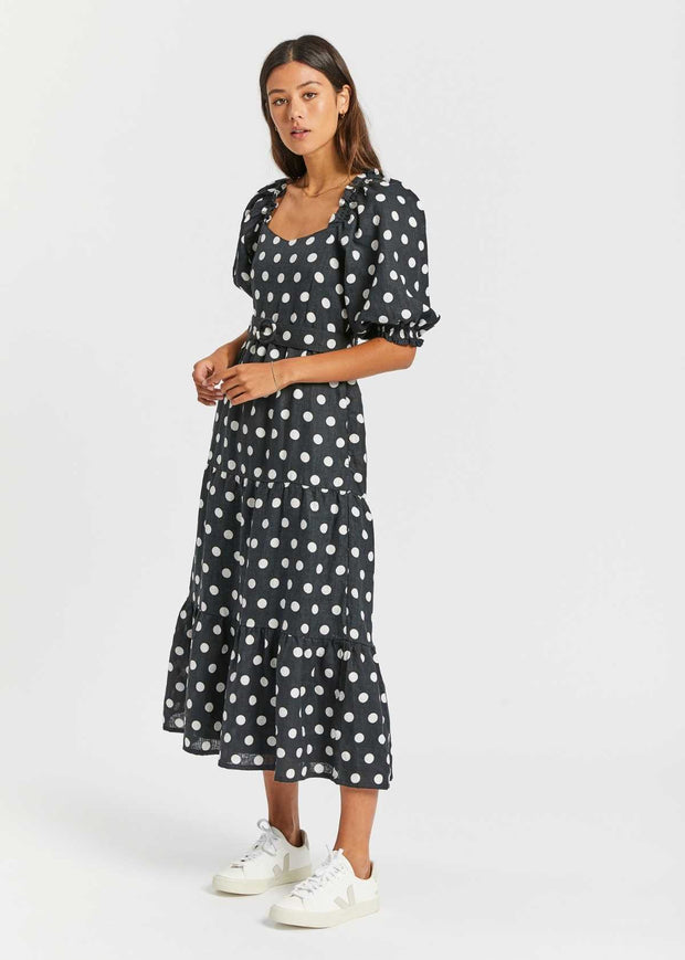 Rumi Midi Dress Emelda Dot Print Black
