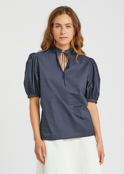Tie Top With Ruffle Ink