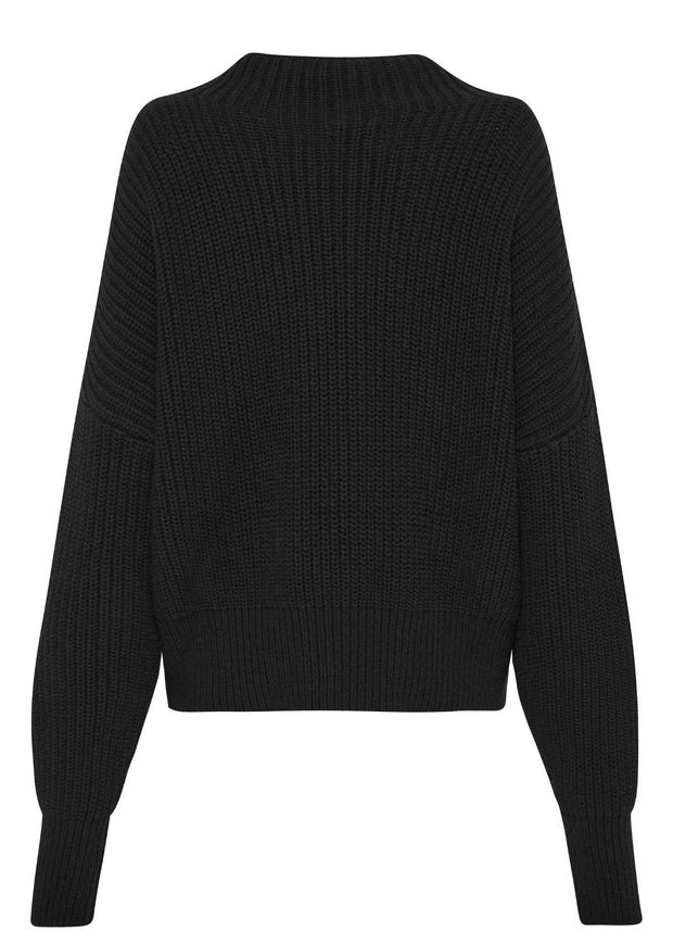Jorn Fisherman Knit Jumper Black