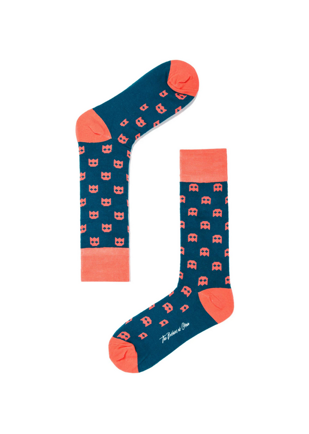 Pixel Ghost Socks Navy