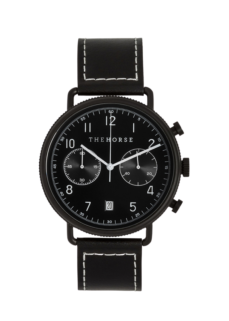 Chronograph Watch Matte Black/Black Dial/Black Leather